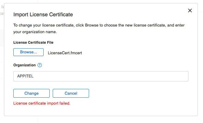FMS17 - Licence certificate import failed - LicenseCert fmcert