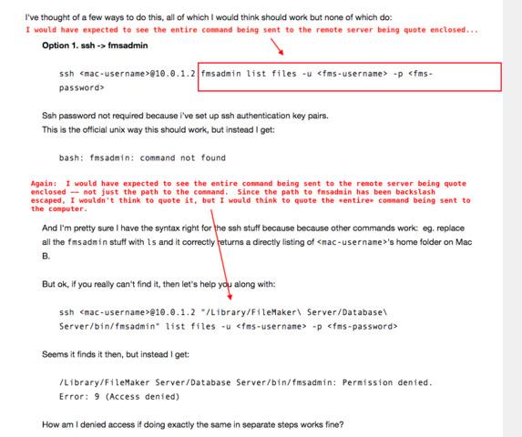 Control FMS 17 on remote Mac via scripting (shell or