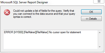 ERROR [HY000] [FileMaker][FileMaker] No cursor open for statement