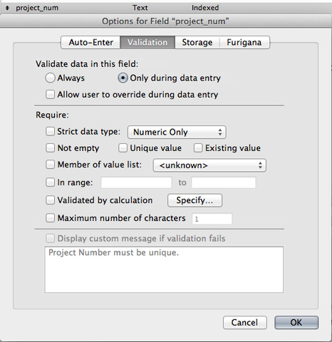 Unable to turn off field validation — FileMaker Community