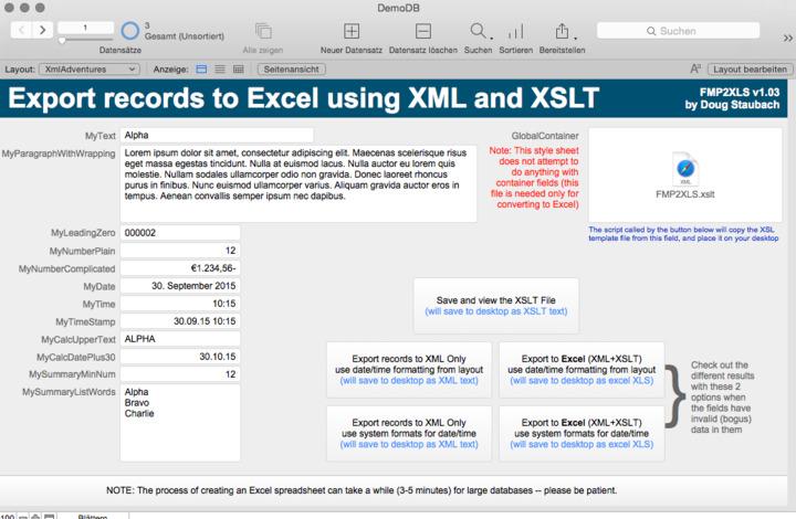 Updated Version FMP2XLS v1 03 (export custom Excel