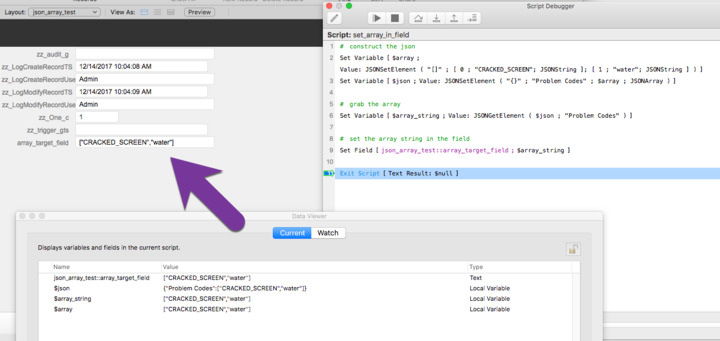 Does FileMaker 16 data API accept array data in a field